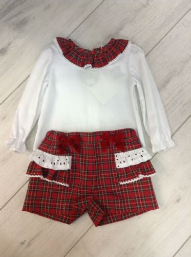 Ninas Y Ninos Red Tartan Shorts Set